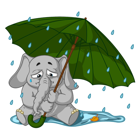 Elephant. Character. Crying under an umbrella, autumn, rain. Big collection of isolated elephants. Vector, cartoon.