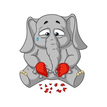 Elephant. Character. Broken heart in his hands. Big collection of isolated elephants. Vector, cartoon. 向量圖像