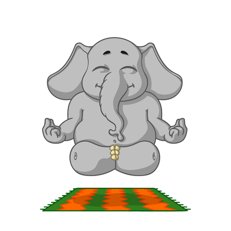 Elephant. Character. Does yoga. Big collection of isolated elephants. Vector, cartoon. 向量圖像
