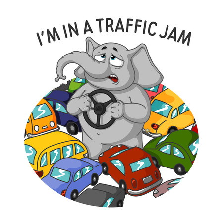 Elephant. Character. Standing in a traffic jam. Steering wheel in hands. A lot of cars. Big collection of isolated elephants. Vector, cartoon. Ilustração