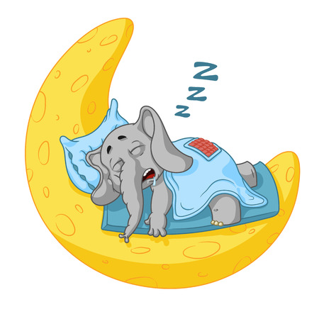 Elefante. Carattere. Dorme sulla luna. Grande collezione di elefanti isolati. Vettore, cartone animato.