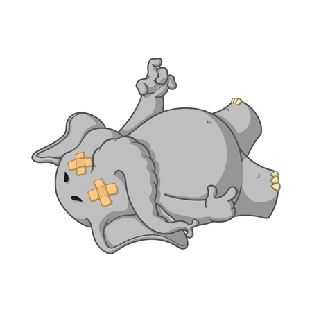 Elephant. Character. Fell tired. Dropped dead. Big collection of isolated elephants. Vector, cartoon. Illustration