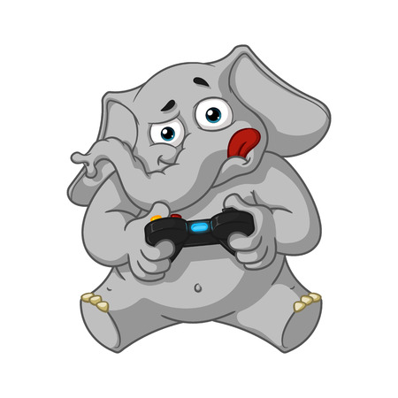 gamepad: Elephant. Character. Playing video games, joystick, gamepad. Big collection of isolated elephants. Vector, cartoon.