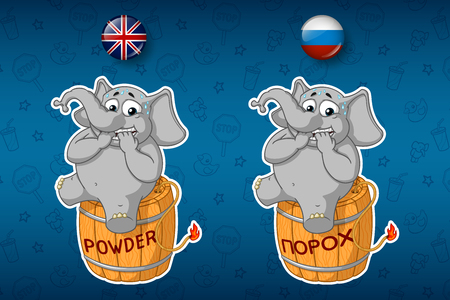 Nervous, sitting on a powder keg. Elephant. Lit the wick. Big set of stickers in English and Russian languages. Vector, cartoon Illustration
