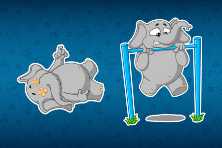 Stickers elephants. Turnstile to pull-up. Its hard for him. Lying corpse. Big set of stickers. Vector, cartoon. Illustration