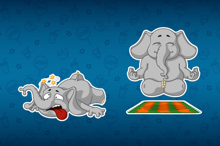 Stickers elephants. She does yoga. He stumbled and fell. Big set of stickers. Vector, cartoon