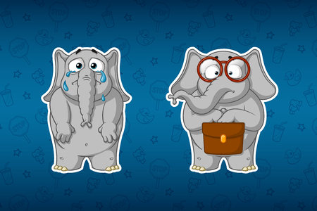 Stickers elephants. Crying, dropping tears, lowering his hands. The botanist is standing with a briefcase and glasses. Big set of stickers. Vector, cartoon