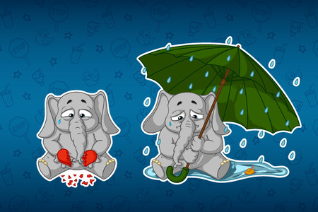 Stickers elephants. Broken heart, sadness, longing. Sits under the umbrella, its raining. Big set of stickers in English and Russian languages. Vector, cartoon