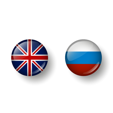 Languages English and Russian. In the form of balls with a shadow. Vector Vetores