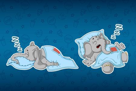 Elefanti adesivi. Dorme con un sonno profondo, coperto da una coperta. Grande serie di adesivi. Vettore, cartone animato Archivio Fotografico - 81622021