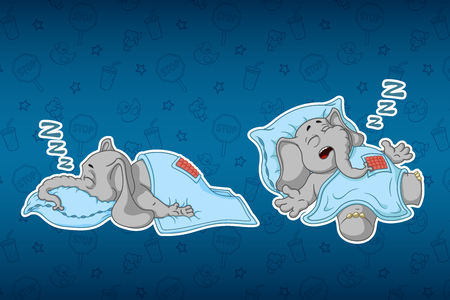 Stickers elephants. He sleeps with a deep sleep, covered with a blanket. Big set of stickers. Vector, cartoon