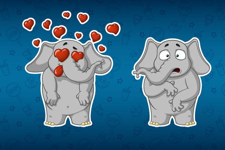Stickers elephants. Very in love. He is surprised. Big set of stickers. Vector, cartoon