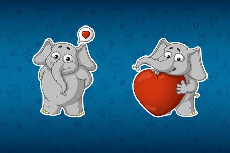 Stickers elephants. He is in love, he has a big heart. Big set of stickers. Vector, cartoon.