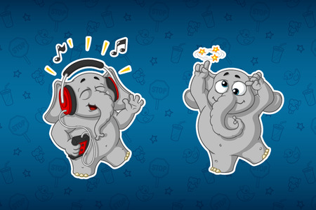 Stickers elephants. Merry, listening to music. Hes going crazy. Big set of stickers. Vector, cartoon Illustration