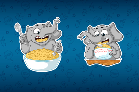 Stickers elephant. He eats porridge with a spoon. Big set of stickers in English and Russian languages. Vector, cartoon