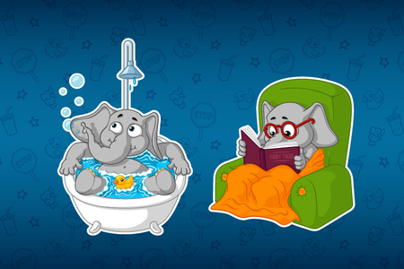 he: Stickers elephants. In the bathroom. In the shower. Water procedures. He is sitting in a chair reading. Big set of stickers. Vector, cartoon