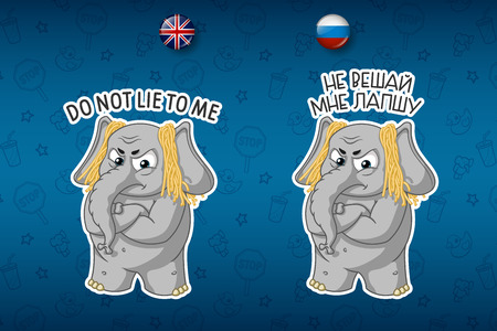Deception. Noodles on the ears. Dissatisfied. Elephant. Big set of stickers in English and Russian languages. Vector, cartoon