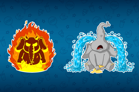 Stickers elephants. Angry, hes on fire. Sobs, big tears. Big set of stickers. Vector, cartoon