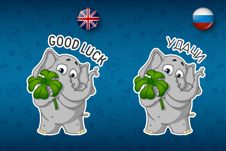 st  nick: Clover for good luck, the elephant holds. Big set of stickers in English and Russian languages. Vector, cartoon Illustration