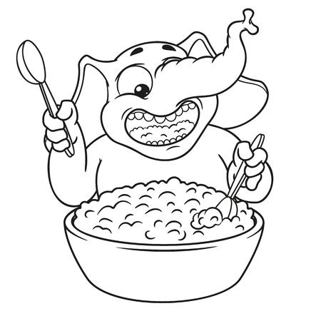 Elephant. Character. He eats porridge with a spoon. Big collection of isolated elephants. Vector, cartoon.