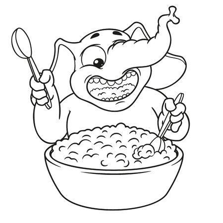 Elephant. Character. He eats porridge with a spoon. Big collection of isolated elephants. Vector, cartoon.