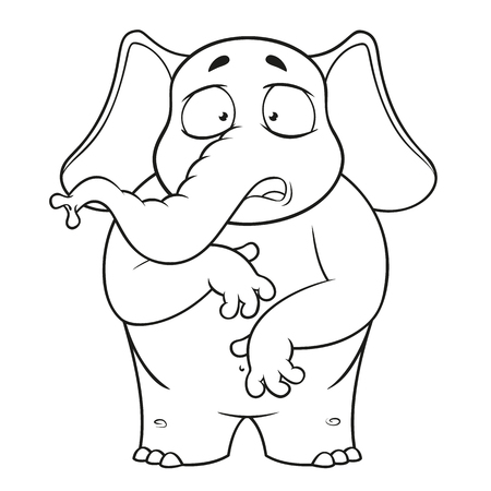 Elephant. Character. Surprised. He is surprised. Wow. Big collection of isolated elephants. Vector, cartoon  イラスト・ベクター素材