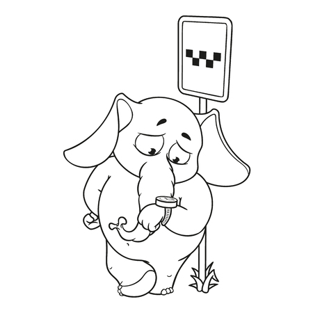Elephant. Character. Waiting for a taxi at a stop looking at the clock. Big collection of isolated elephants. Vector, cartoon. 向量圖像