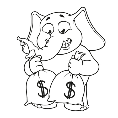 Big collection vector cartoon characters of elephants on an isolated background. Lot of money. Holds bags with money Illustration