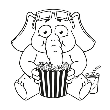 Big collection vector cartoon characters of elephants on an isolated background. Watching movie in 3D glasses eating popcorn