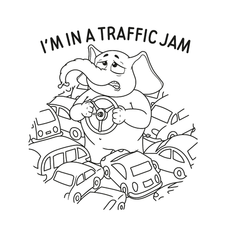Elephant. Character. Standing in a traffic jam. Steering wheel in hands. A lot of cars. Big collection of isolated elephants. Vector, cartoon.  イラスト・ベクター素材