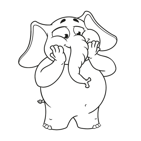 Big collection vector cartoon characters of elephants on an isolated background. Excited Surprised  イラスト・ベクター素材