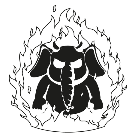 burning: Elephant. Character. The evil red horns, fire. Devil. Big collection of isolated elephants. Vector, cartoon.