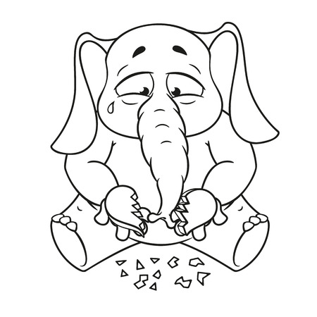 Elephant. Character. Broken heart in his hands. Big collection of isolated elephants. Vector, cartoon. Illustration