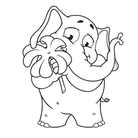 Big collection vector cartoon characters of elephants on an isolated background. Holds clover for good luck Illustration
