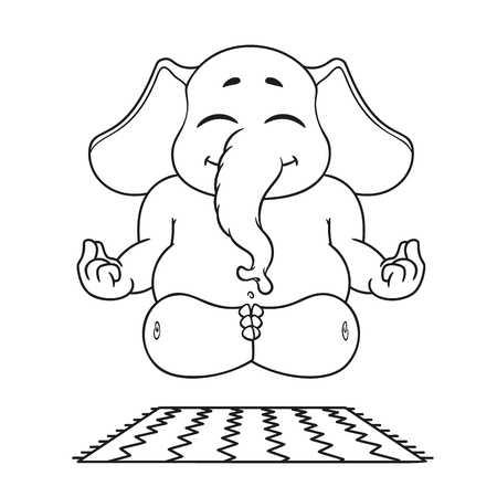 Elephant. Character. Does yoga. Big collection of isolated elephants. Vector, cartoon. 일러스트