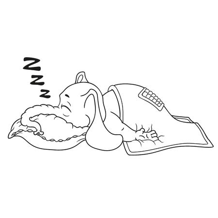 Elefante. Carattere. Dorme con un sonno profondo, coperto da una coperta. Grande collezione di elefanti isolati. Vettore, cartone animato. Archivio Fotografico - 81664356