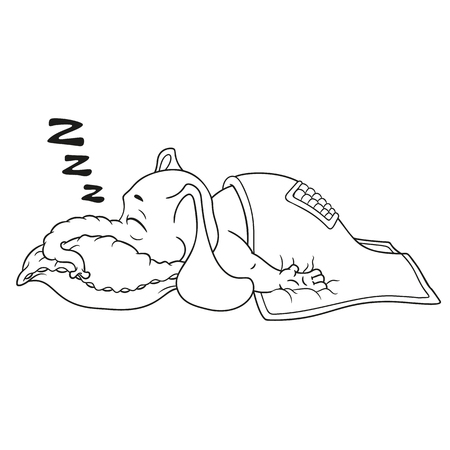 quirky: Elephant. Character. He sleeps with a deep sleep, covered with a blanket. Big collection of isolated elephants. Vector, cartoon.
