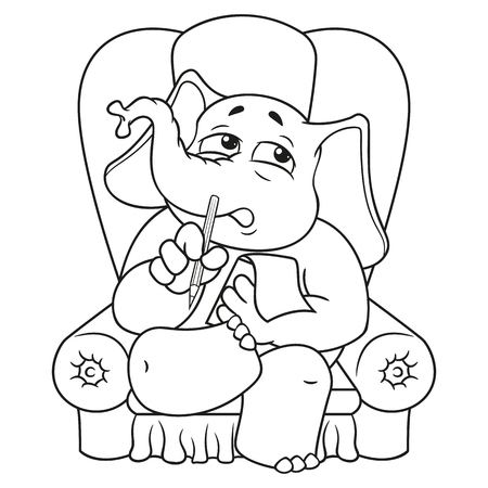 Elephant. Character. Psychologist sitting in a chair listening to. Big collection of isolated elephants. Vector, cartoon. Illustration