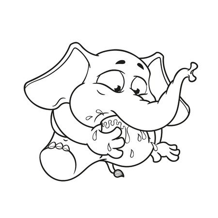 Elephant. Character. My foot in my mouth. Big collection of isolated elephants. Vector, cartoon.