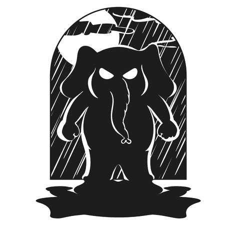 Elephant. Character. Came suddenly. Big collection of isolated elephants. Vector, cartoon.