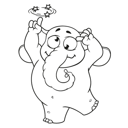 Elephant. Character. Gone crazy. Insane. Big collection of isolated elephants. Vector, cartoon  イラスト・ベクター素材
