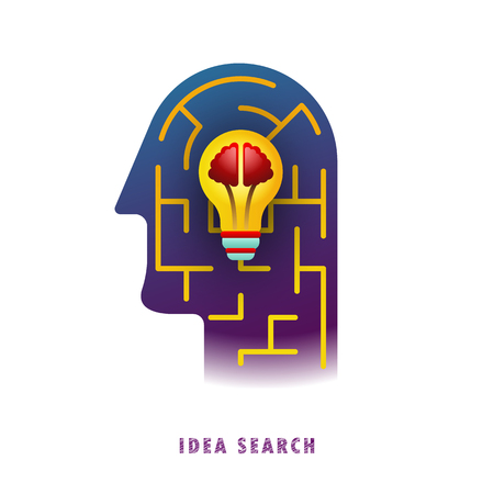Idea search. Lamp in the maze. Vector illustration. Flat. Gradient.  イラスト・ベクター素材