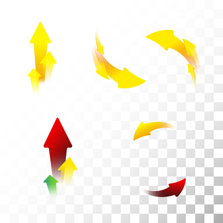 Set of arrow icons. Flat. Gradient. Transparent background.