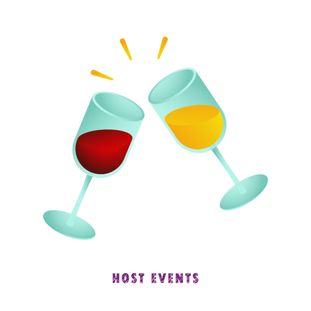 Host events. Two glasses of wine. Vector illustration. Flat. Gradient.