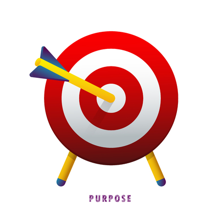 Purpose. The arrow in the target. Vector illustration. Flat. Gradient.
