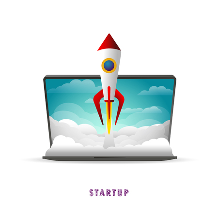Startup. The rocket takes off from the laptop. Vector illustration. Flat. Slope. Transparent background  イラスト・ベクター素材
