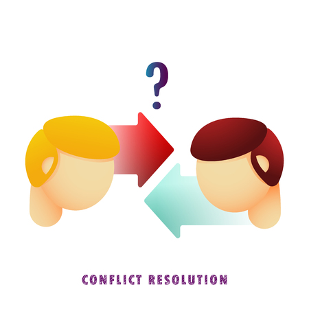 Conflict resolution. Vector illustration. Flat. Gradient.