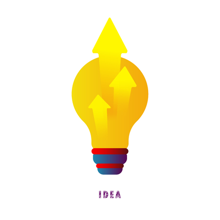 Idea. Arrows from the lamp. Vector illustration. Flat. Gradient.