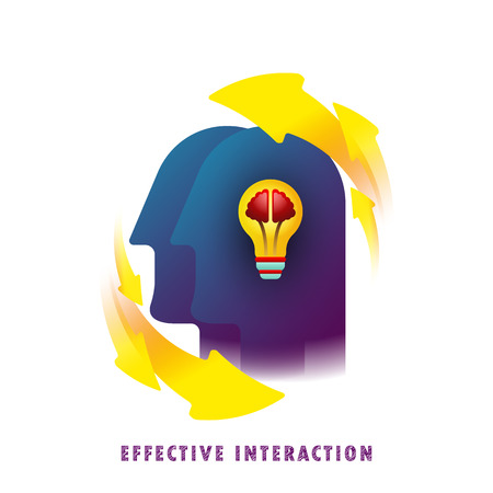 Effective interaction. General knowledge. Thought-out idea. Light bulb with brain. Vector illustration. Flat. Gradient.