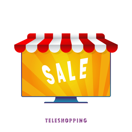 Teleshopping. Vector illustration. Flat. Gradient. Vectores